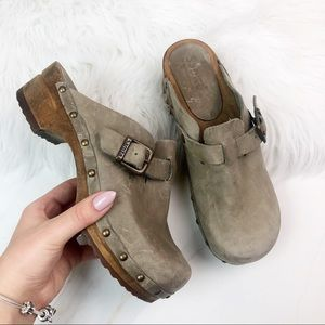 Sanita Distressed Gray Mules